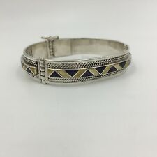 Vintage Mother Of Pearl Amethyst Panel Hinged Sterling Silver Cuff Bracelet