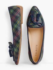 Talbots Francesca Tie Tassel Driving Mocs Flats Shoes Loafer Tartan Plaid 11 Bow