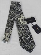 NEW Ralph Lauren Handmade In Italy Woven Blue & Cream Paisley Silk Tie RRP £83