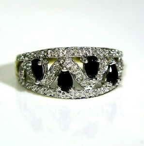 9ct 9k Gold Pear Sapphire Diamond Band Ring Size 8 3/4 - R