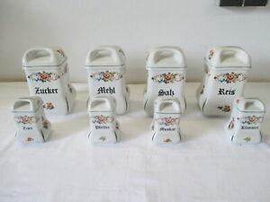 8 wunderschöne alte Porzellan Küche Vorratsdosen Zucker Mehl Salz Reis u.a.