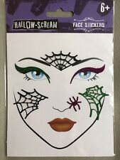 Halloween Witch Self Adhesive Face Gem Stickers  Spider Webs And Glitter Eyelid