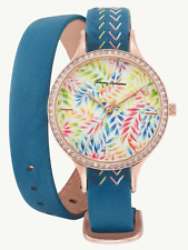 TOMMY BAHAMA Women's Rose Gold Floral Watch Double Wrap Strap Swarovski Crystals