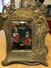 Antique Brass Bronzed Metal Art Nouveau Woman Vanity Table Mirror Hinged Stand
