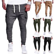Men Casual Pants Sweatpants Solid Side Pocket Tether String Belt Trouser Fashion