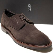 Hugo Boss ITALY Brown Suede Leather Oxford Men's Dress Shoes 11 44 Derby Casual