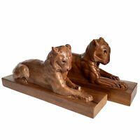 "Lions Tiger Walnut Statues Pair (2) Hand Carved Wood 14.5"" Folk Art Figures Vtg"