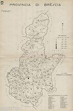 Provincia di Brescia:Tutti i Comuni 1938.Carta Topografica.Anno XVI Era Fascista