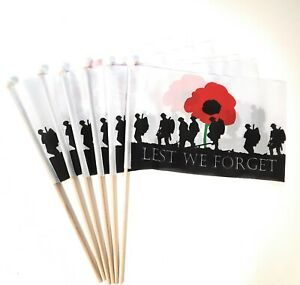 Lest We Forget Hand Flag 6 Pack FREE UK DELIVERY!