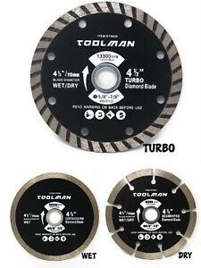 TOOLMAN 4.5'' 4-1/2'' Diamond Blade Circular Saw Tile Masonry, (Wet, Dry, Turbo)