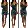 Women Velvet Wrap Ruched Strappy Low Draped Bustline Slit Party Evening Dress UK