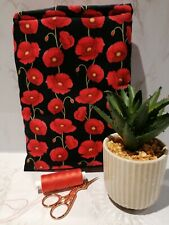 Book Sleeve. Cover.Holiday book Pouch. Book protector. Poppy fabric.Handmade