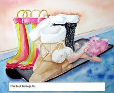 Fond Memories, Bookplates, children, boots, winter,ballet slippers,educational