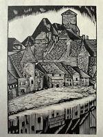 François Louis Schmied Gravure sur bois Woodcut Vue D'Argentat