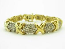 "14k Yellow Gold Diamond Hugs & Kiss Tennis Bracelet 28.0 Gr 7.92ct TDW 7.5"" L"