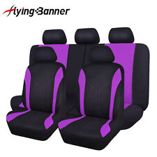 Flying banner car Seat Covers set Universal purple rear seat 40/60 50/50 split