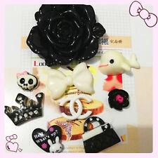 9pcs DIY Mix resin Black Flower cell phone case flatback deco kit cabochon