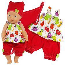 Puppenkleidung 3-tlg Sommer-Set für Puppe wie z.B. Baby Born bis 43 cm