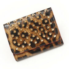 AUTHENTIC CHRISTIAN LOUBOUTIN PANETTONE STUDS WALLET BROWN RED GRADE A USED-AT