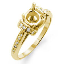 0.50 Ct Round Semi Mount Diamond Engagement F VS1 Accents Ring 14k Yellow Gold