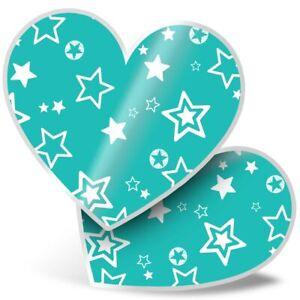 2 x Heart Stickers 15 cm - Aqua Teal Green Stars Pattern  #44126