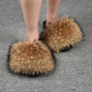 Luxury Fur Slides Fluffy Slippers Natural Brown Sandals Soft Flip Flop New66047A