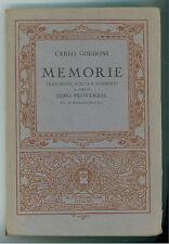 GOLDONI CARLO MEMORIE MONDADORI 1929 SCELTA E COMMENTO A CURA DI DINO PROVENZAL