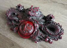 Hand Carved Red Wood Dragon Sculpture Chinese Calligraphy Ink Pad Yinni Paste