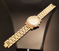 Men Hip Hop Iced out Rose Gold Techno Pave Bling Simulated Crystal Rapper Watch