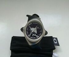 NEW OAKLEY CRUSH Stainless Steel Black Dial w/ Silver SKULL WATCH torpedo blade