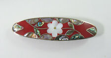 "Alpaca hair clip / barette abalone shell inlay flower desiign red 3 1/2"" long"
