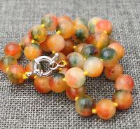 "Pretty India 10mm Multicolor Jade Gemstone Round Bead Necklace 18 """
