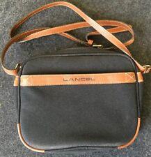 Lancel, Sac Sacoche Bandoulière cuir brun et toile noire Vintage 1987 23x17 Cm