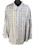 Saddlebred Easy Care L/S Button Down Shirt Mens 4X Blue White Tan Plaid