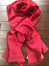 NWT EILEEN FISHER Silk Kantha Border Scarf Red!!! New in Package! Retail $148