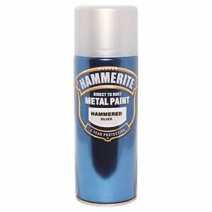 Hammerite Direct To Rust Metal Spray Paint 285g HAMMERED SILVER, WHITE or BLACK