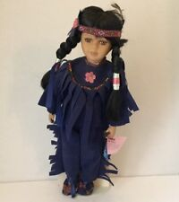 ASHLEY BELLE COLLECTION PORCELAIN BISQUE INDIAN GIRL DOLL w/STAND & COA NA1709