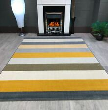 New Venus Stripe Cream Mustard Gold Grey Extra Large Modern Floor Rug 160x230cm