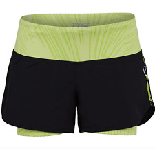 """Zoot - Women's Run Pch 2 in 1 3"""" short - Black/Spring Green Palm - Large"""