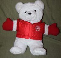 "2016 SNOWFLAKE TEDDY Plush Boy Bear  21"" DAN DEE Red Vest Mittens Christmas"