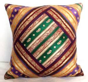 "Indian Multi-color Cushion Cover Silk Brocade Sham Pillow Throw Decor 16""x16"""