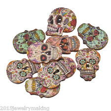 50PCs 2-hole Wooden Buttons Craft Skull Skeleton Scrapbooking & Sewing Knit A5
