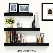 3 Piece Floating Wall Shelves For Display Bookshelf Shop 3.8cm Thick - Black
