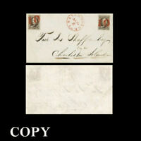 USA 1847 Cover Two 5c Black Benjamin Franklin Pan-Am $100,000 ,Copy