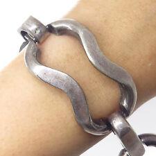 "Antique 925 Sterling Silver Handmade Wide Open Link Bracelet 7"""