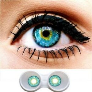 htMonthly Disposable (0,Colored Makeup Eye Lenses, Pack of 1) with solution case