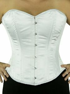 NEW! Various Sizes! 530 Authentic White Satin Overbust Double Boned Steel Corset