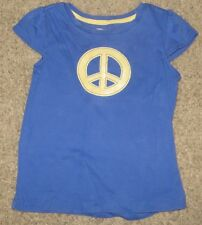 EUC Gymboree Flower Showers Peace Blue Shirt Size S Small 5-6