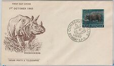 INDIA -  POSTAL HISTORY - FDC COVER -  ANIMALS : RHINOCEROS 1962
