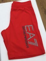 EMPORIO ARMANI EA7 Racing Red 100% Cotton Shorts Silver Logo Size L BNWT